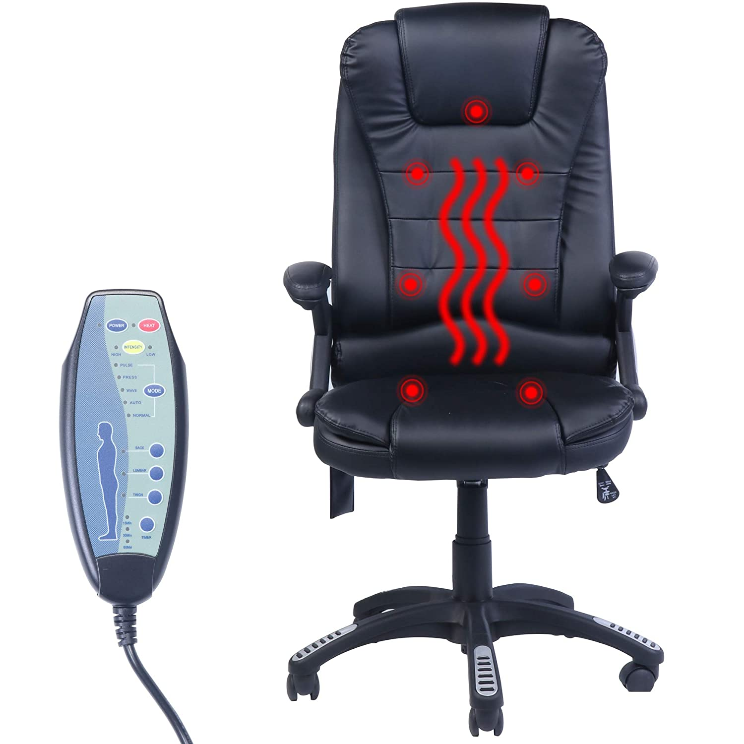 Frivity High-Back Managerial Chair Ergonomic PU Leather Heated Vibrating Massage Office Executive Chair - Black