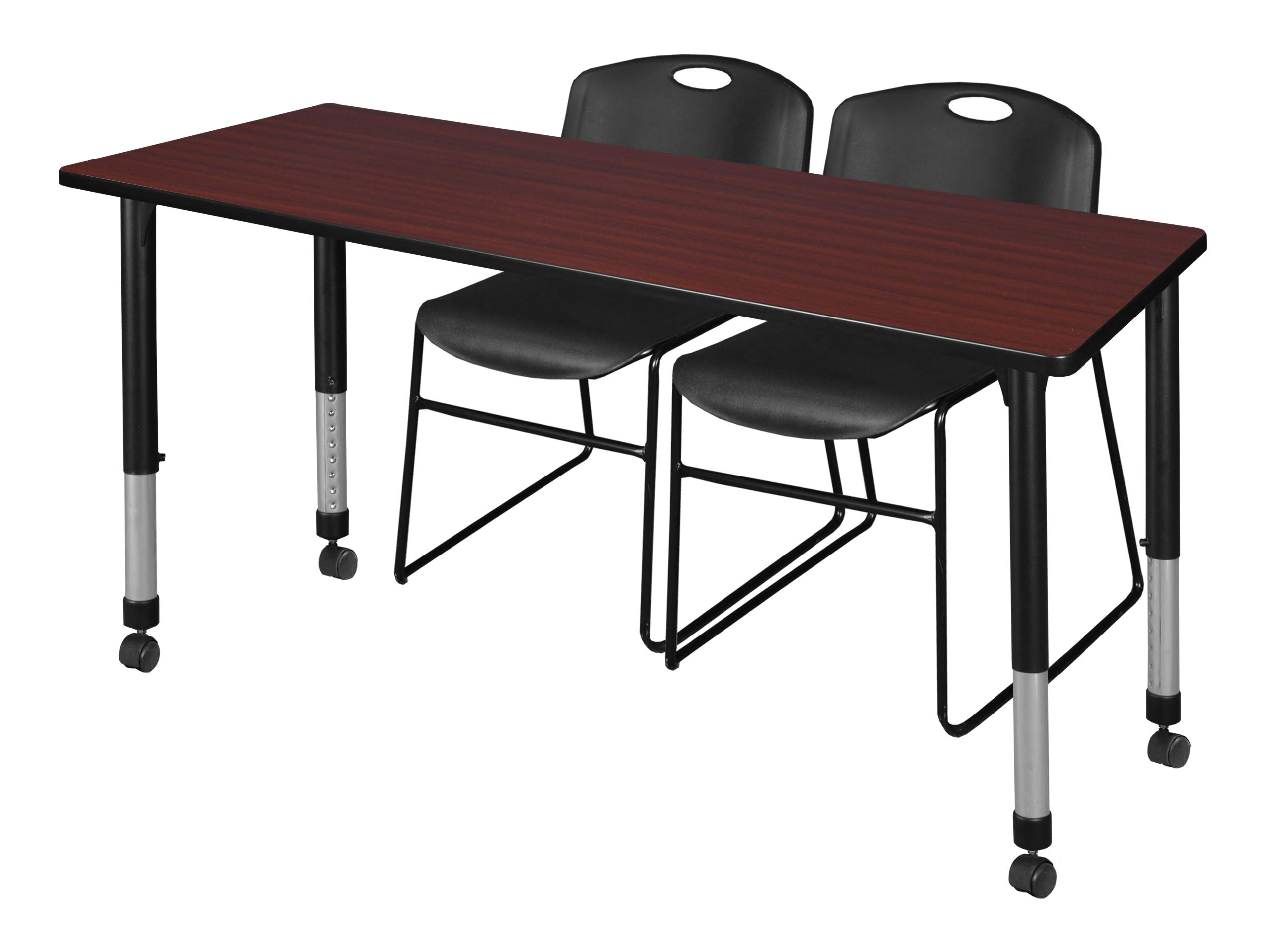 Regency MT6630MHAPCBK44BK Kee Height Adjustable Mobile Classroom Table Set with Two Zeng Chairs 66'' x 30'' Mahogany/Black
