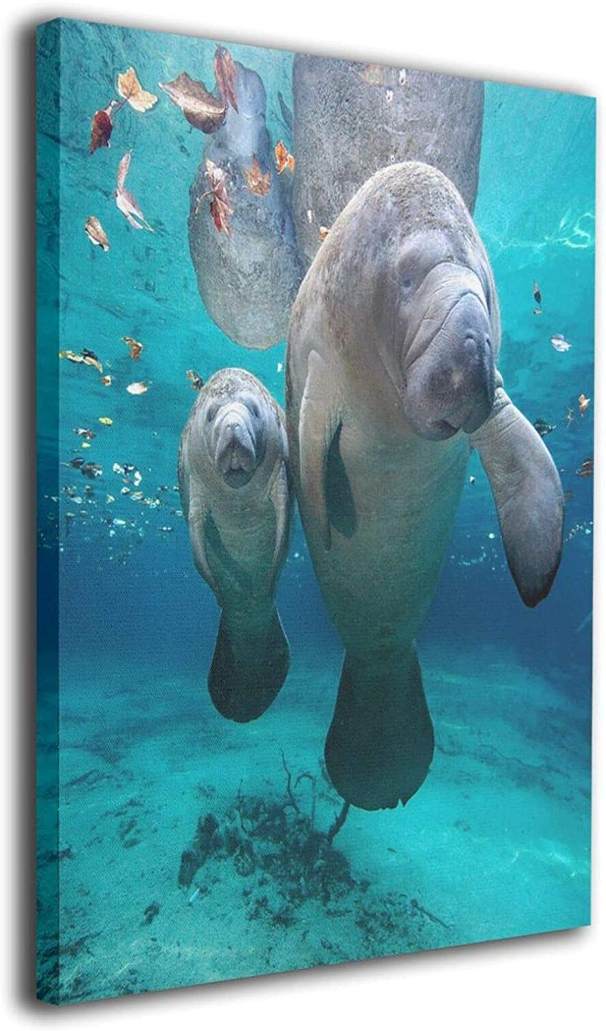 Under Sea Manatee Family Canvas Prints Wall Art Paintings Durable Bedroom Wall Decor Creative Poster Picture Artwork Fits for Office Bathroom Home Decoration