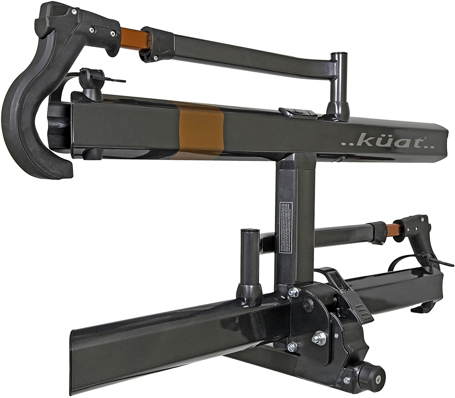 An image of a black bike hitch-type rack on a white background.