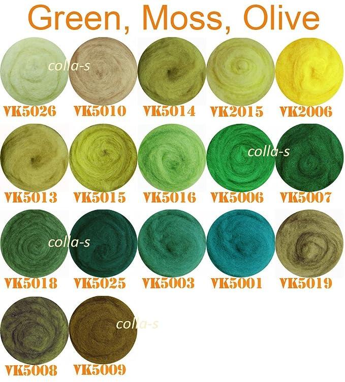 100/% Lana para fieltrado en seco y h/úmedo Amarillo Verde Beige Aceituna 50 g