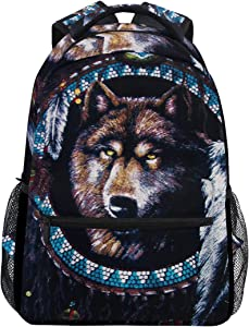 Native American Wolf Backpacks Travel Laptop Daypack School Bags for Teens Men Women