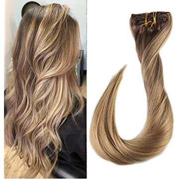 Full Shine 22 inch Clip in Ombre Remy Hair Extensions Balayage Dip Dyed Color #4