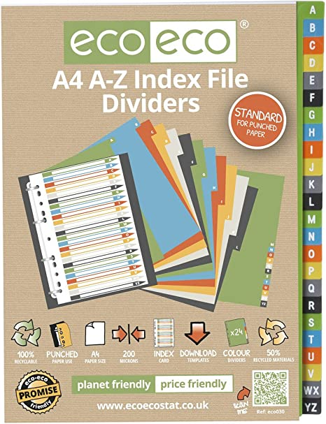 12 Sets x 12pk eco-eco A4 50/% Recycled Index File Folder Plastic Dividers