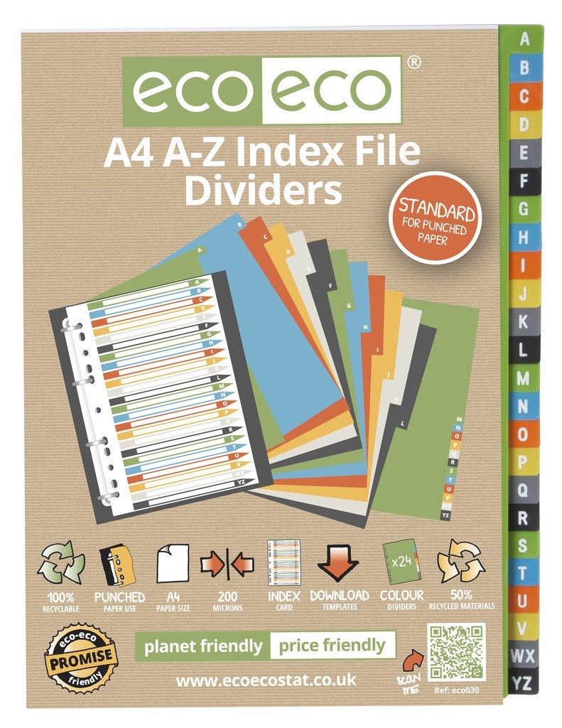 1 Set x 24pk eco-eco A4 50% Recicladas Índice alfabético Carpeta ...