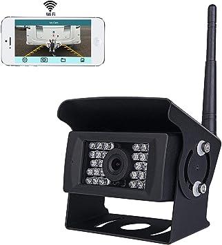 Wifi - Cámara de Marcha Atrás Inalámbrica con Sistema CCTV, 36 V a 12 V IP69 Impermeable 28 luces de Infrarrojos Visión Nocturna , Compatible con ...
