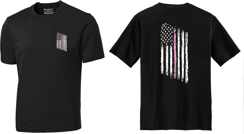 Tattered American Flag Thin PINK Line Breast Cancer Awareness Komen Sweatshirt