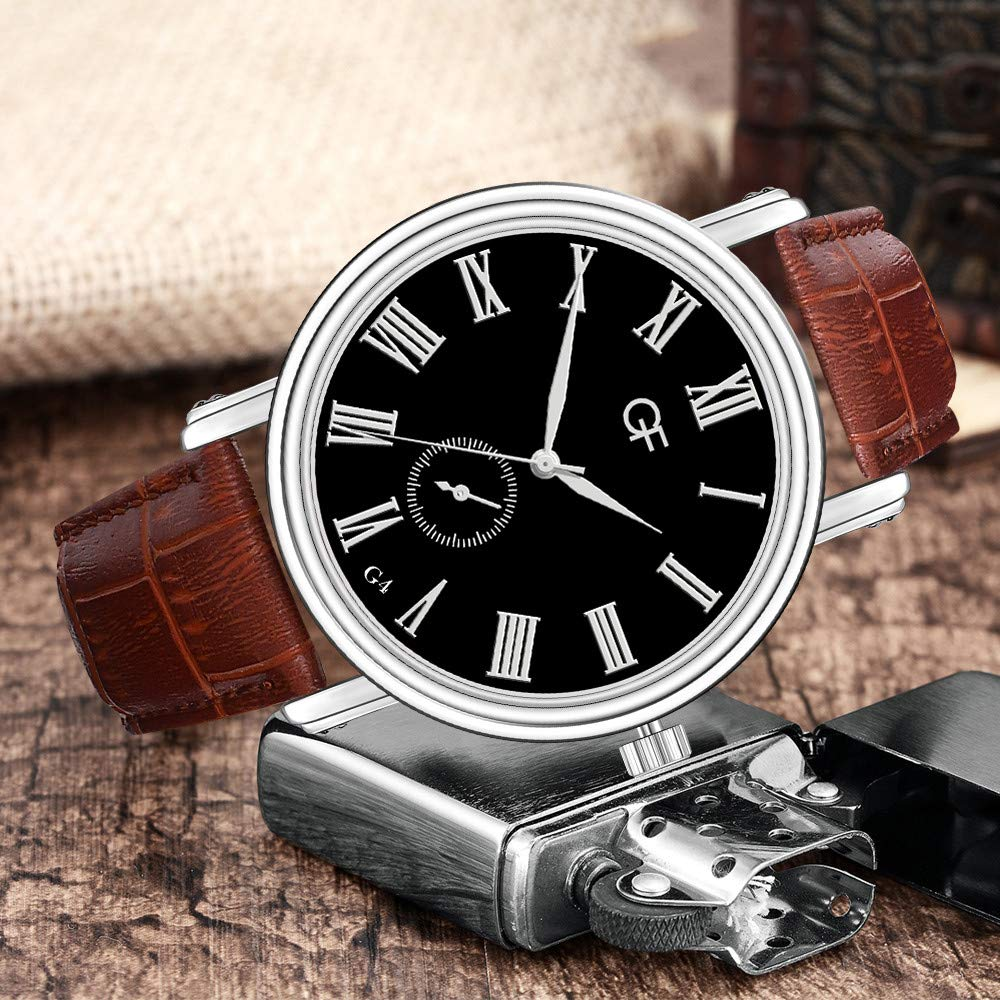 Amazon.com : XBKPLO Quartz Watches Mens Analog Wrist Watch Pointer Light Vintage Roman Numerals Leather Band Temperament Strap Watch Jewelry Gift : Pet ...