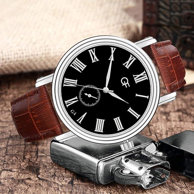 Amazon.com : XBKPLO Quartz Watches Mens Analog Wrist Watch Pointer Light Vintage Roman Numerals Leather Band Temperament Strap Watch Jewelry Gift : Pet ...