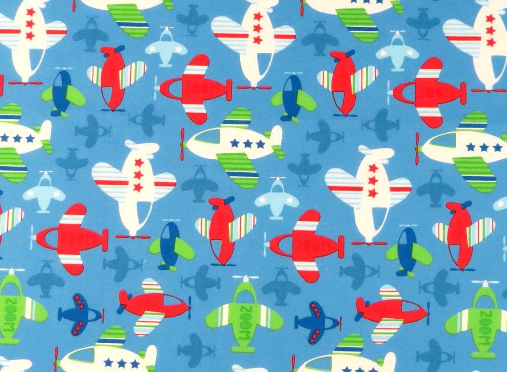 SheetWorld Fitted Square Playard Sheet Fits Joovy 37.5 x 37.5 - Baby Airplanes - Made in USA