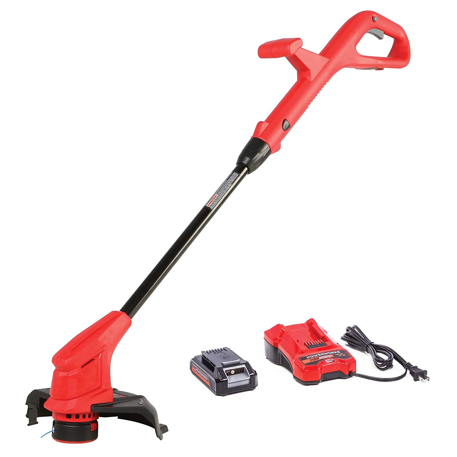 Powerworks XB 20V 10-Inch Cordless String Trimmer, 2Ah Battery and Charger Included STP301, 10 inch, Red Black