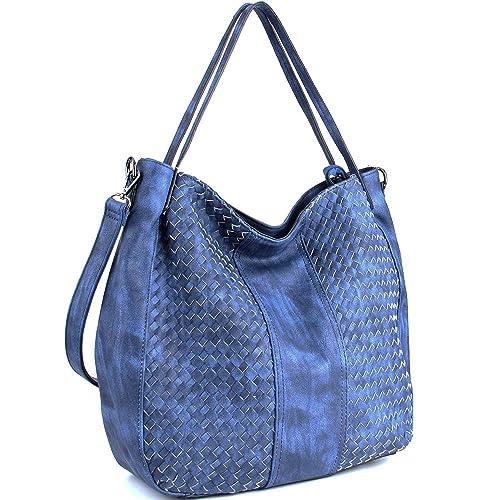 WISHESGEM Handtaschen Damen Schultertaschen Umhängetaschen Cross body Hobo Henkeltaschen PU Leder Taschen Große Weave (L:45cm * H:35cm * W:13cm)