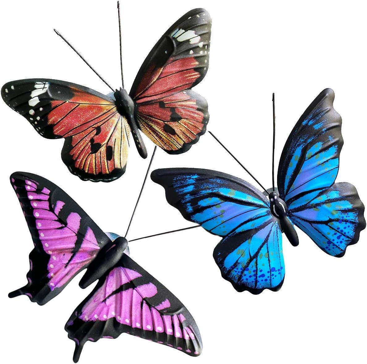Eoorau Metal Butterfly Wall Art, 3D Butterflies Wall Decor Sculpture Hanging for Indoor and Outdoor, 3 Pack