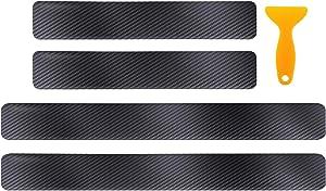 QUhang 4pcs Anti Scratch Stickers, Universal 4D Carbon Fiber Car Door Entry Guard Sill Scuff Plate Rear Bumper Protectors Front and Back