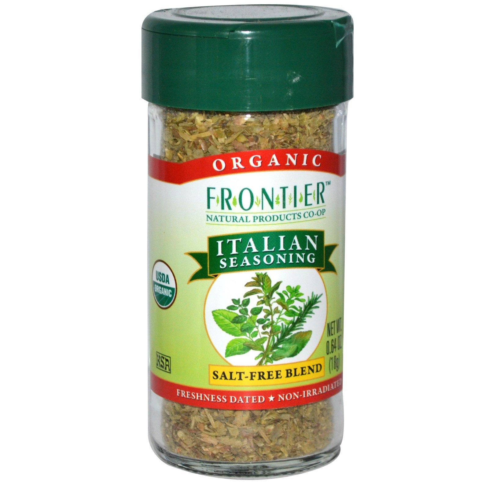 Frontier Natural Products, Organic Italian Seasoning, Salt-Free Blend, 0.64 oz (18 g) - 2pc