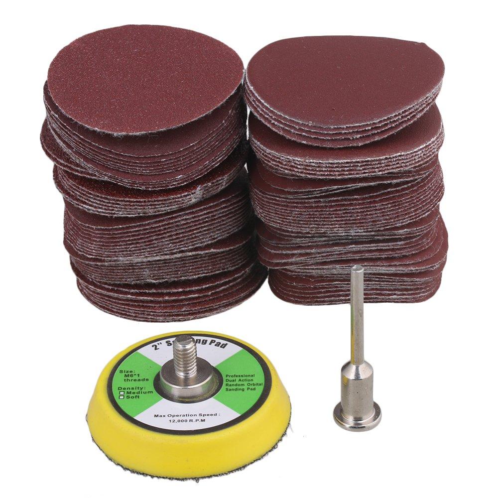 BQLZR 60-2000 Grit 2-Inch 50mm Sanding Discs Sandpaper Hook & Loop Sanding Pad Polishing Tool Pack of 100 M4171225178