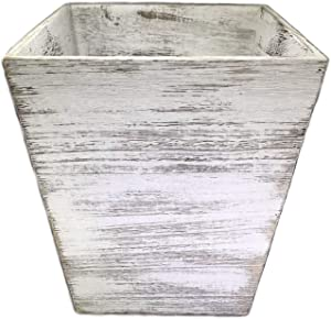 Ahaus Imports - Rustic Wood Waste Basket - Square - Weathered White Barnwood Style - 12x10x10in