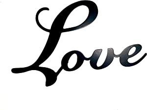 Love Metal Wall Word Sculpture, Black Metal Inspirational Home Decor by Sunny Berry Co
