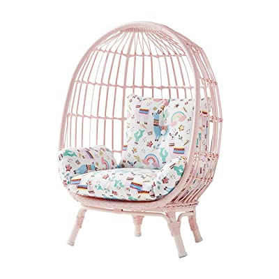 Handwoven Wicker on Steel Frame Kid's Egg Chair w/Reversible Cushion (Pink): Kitchen & Dining
