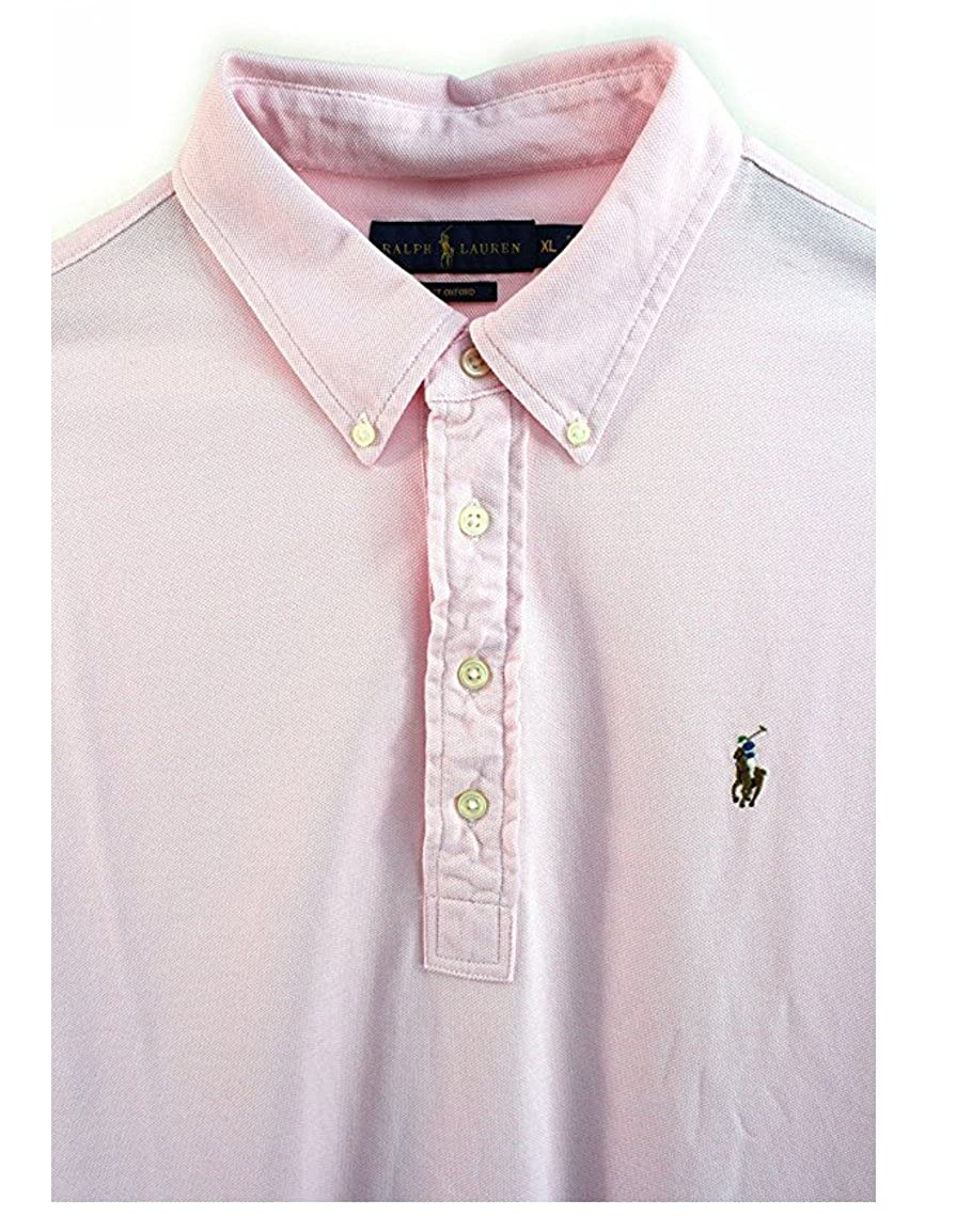 4d152bee5631a Polo Ralph Lauren Men s Knit Oxford Mesh Carmel Pink Hampton Polo Shirt  (Medium) at Amazon Men s Clothing store