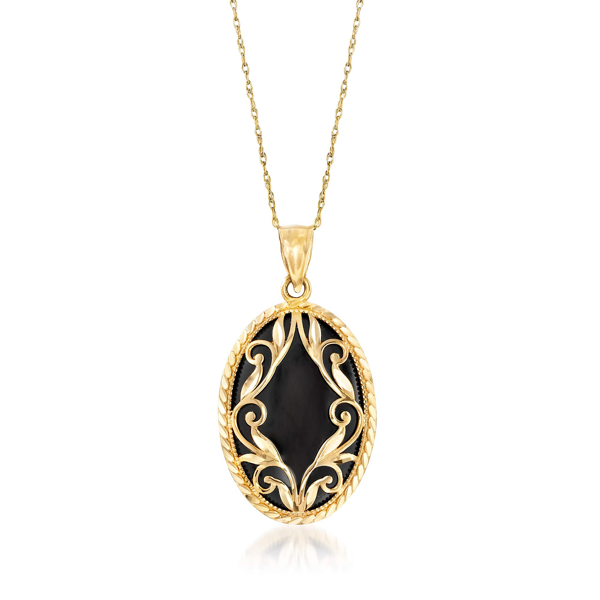 Ross-Simons Oval Black Onyx and 14kt Yellow Gold Pendant Necklace