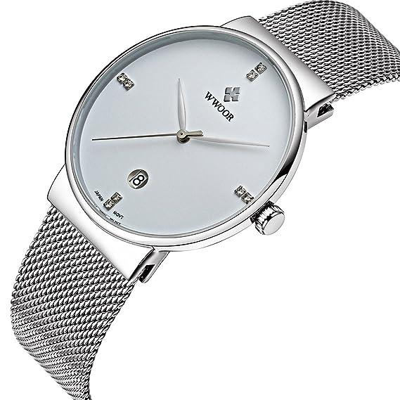 Qingmei WWOOR Hombres Casual FECHA reloj de cuarzo muñeca relojes Gent impermeable de los deportes de