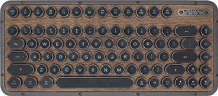 AZIO Retro Teclado compacto, RCK ELWOOD, teclado mecánico Bluetooth móvil con reposamanos a juego, apariencia vintage, diseño español