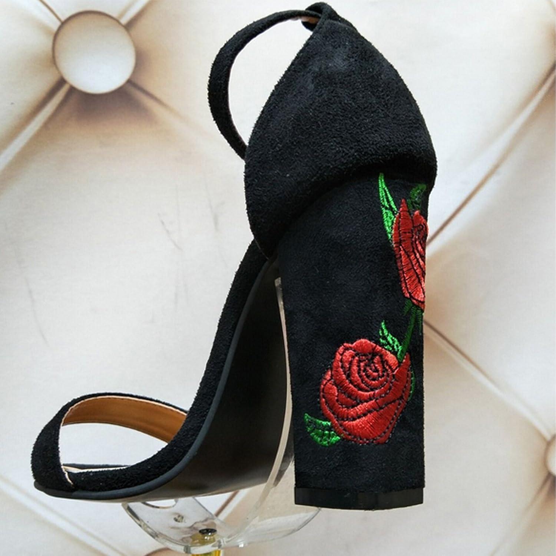 CHNHIRA Sandalias Zapato de Tacón Alto con Flores Para Mujer EN Verano(35EU Albaricoque) PdrdGS9BS