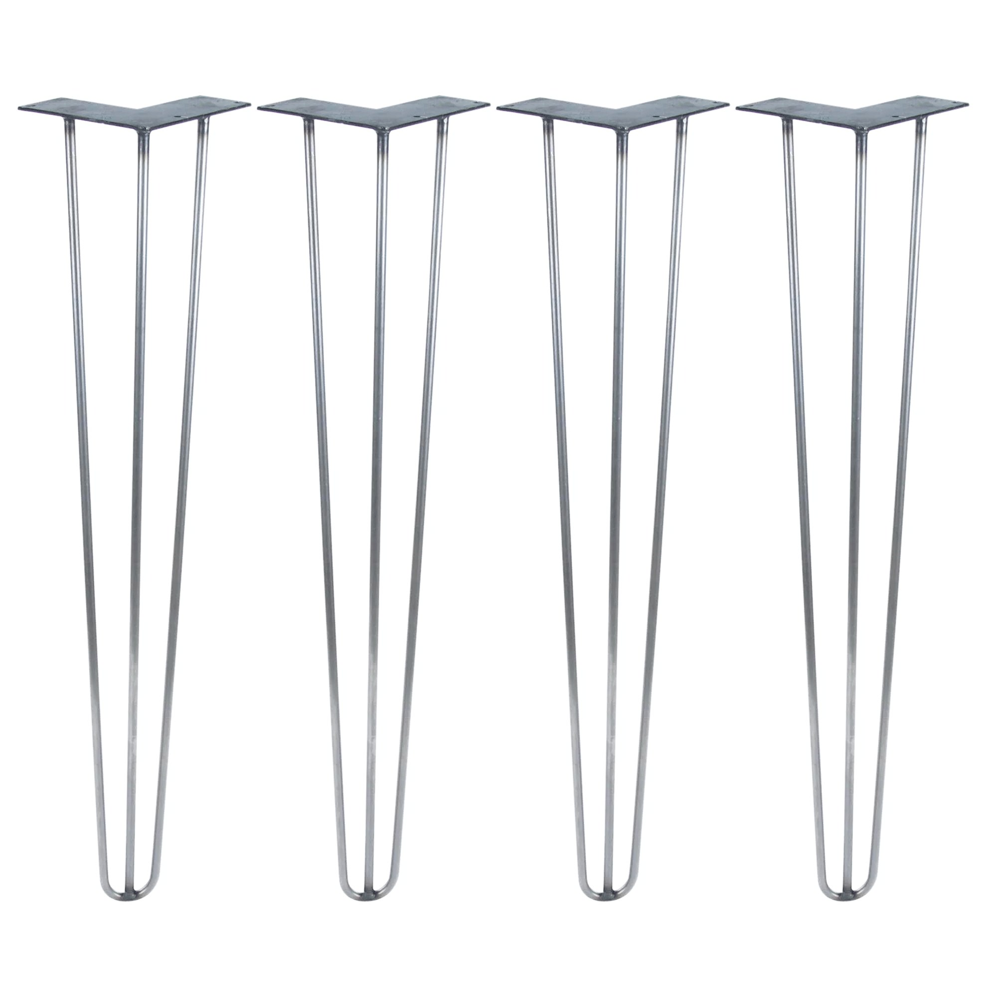 Set of Four 28'' 3-Rod Hairpin Legs - 3/8'' or 1/2'' Diameter - Made In The USA - Mid Century Modern - Available in Raw Steel, Black or White (1/2'' Diameter x Jet Black Satin) by DIY Hairpin Legs
