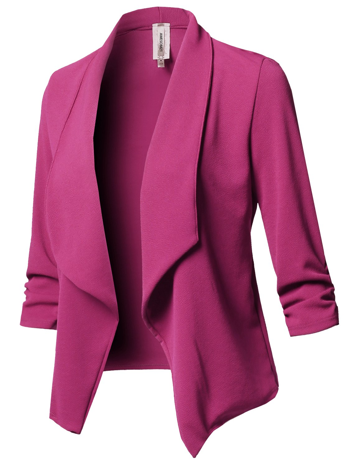 Awesome21 Stretch 3/4 Gathered Sleeve Open Blazer Jacket Magenta2 Size 2XL