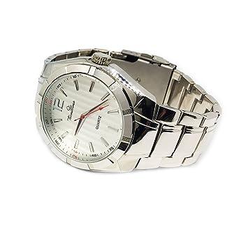 Techno Trend XXL chapado en plata Iced Out Hip Hop Bling Reloj de cuarzo bisel Link correa de reloj: Amazon.es: Relojes