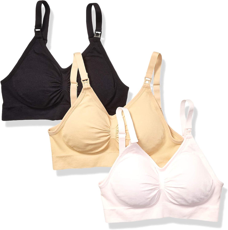 Vanetti Womens Cotton Wireless Seamless Nursing Maternity Bra-3 Pack