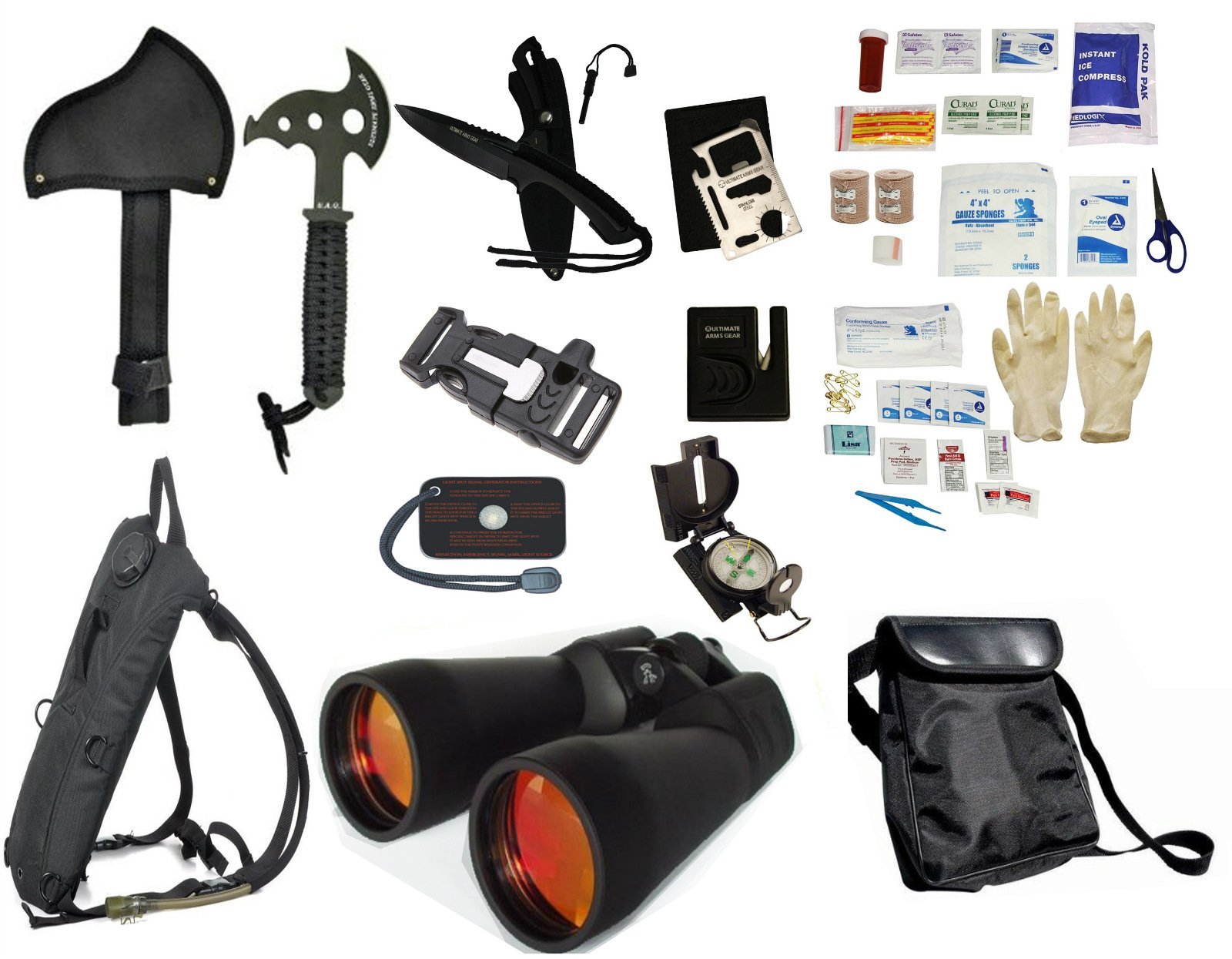 Survival Camping Hiking Kit: Emergency First Aid, 20X70 Binoculars Ruby,Sharpener, Axe, Fire Starter Blade, Whistle Flint Striker Belt Buckle, Hydration Backpack, Multi Tool, Compass, Signal Mirror