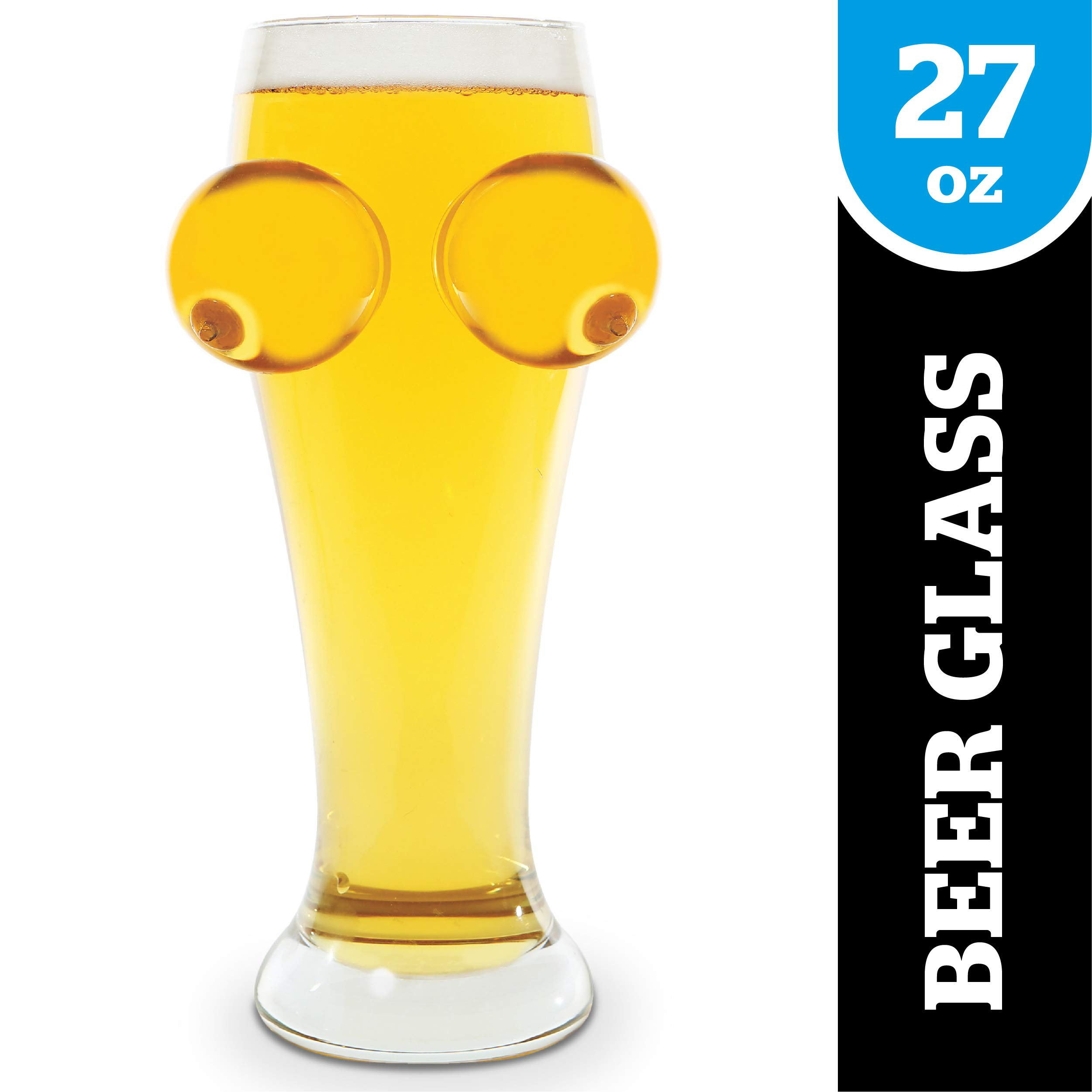 BigMouth Inc Boobie Beer Glass, Funny Novelty Drinking Glass, Holds 27 oz, Pilsner, Great for Other Beers and Drinks