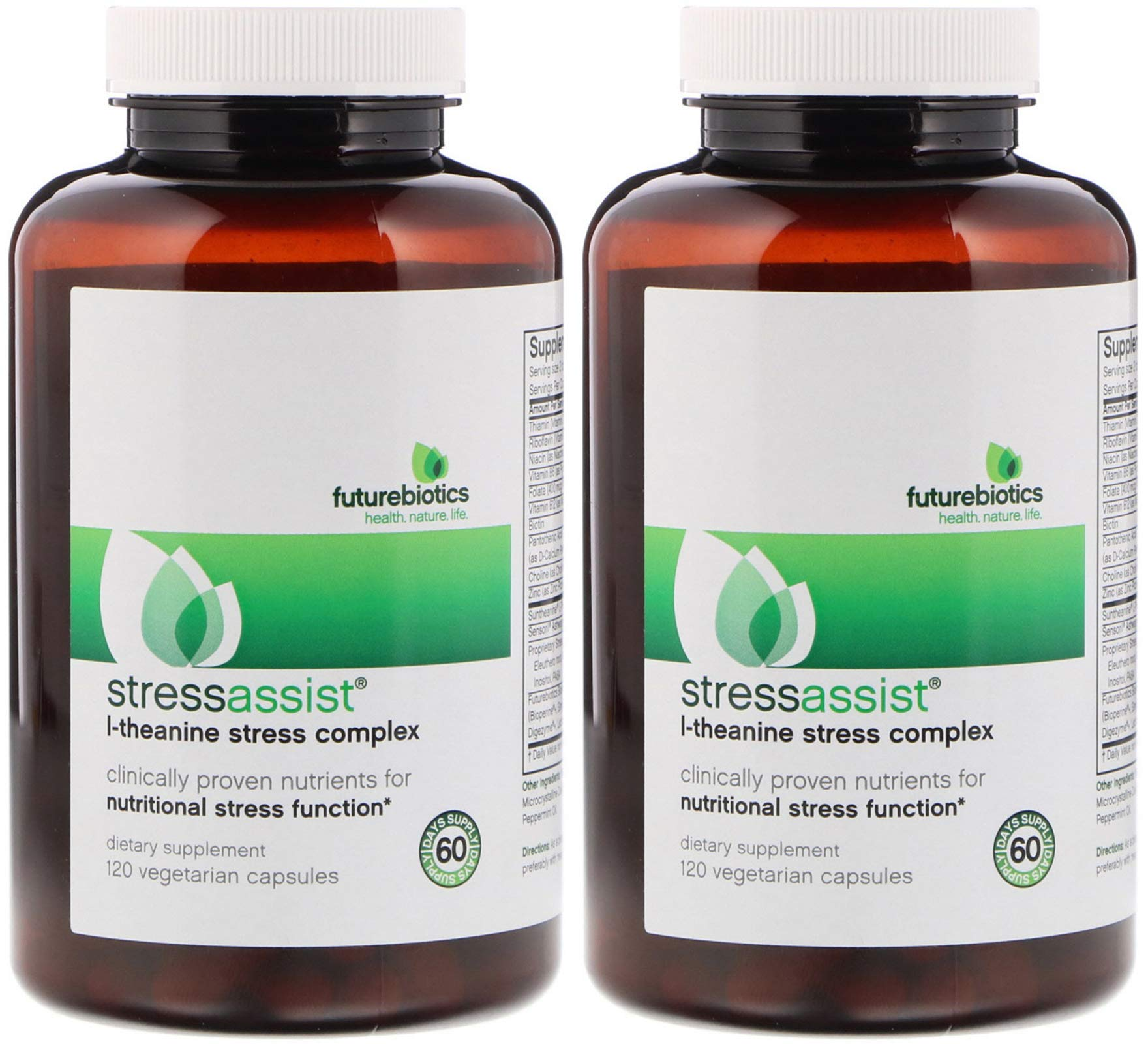 Futurebiotics Stress Assist L Theanine Stress Complex (Pack of 2) Clinically Proven Nutrients for Nutritional Stress Function, 120 Count Each by Supplement
