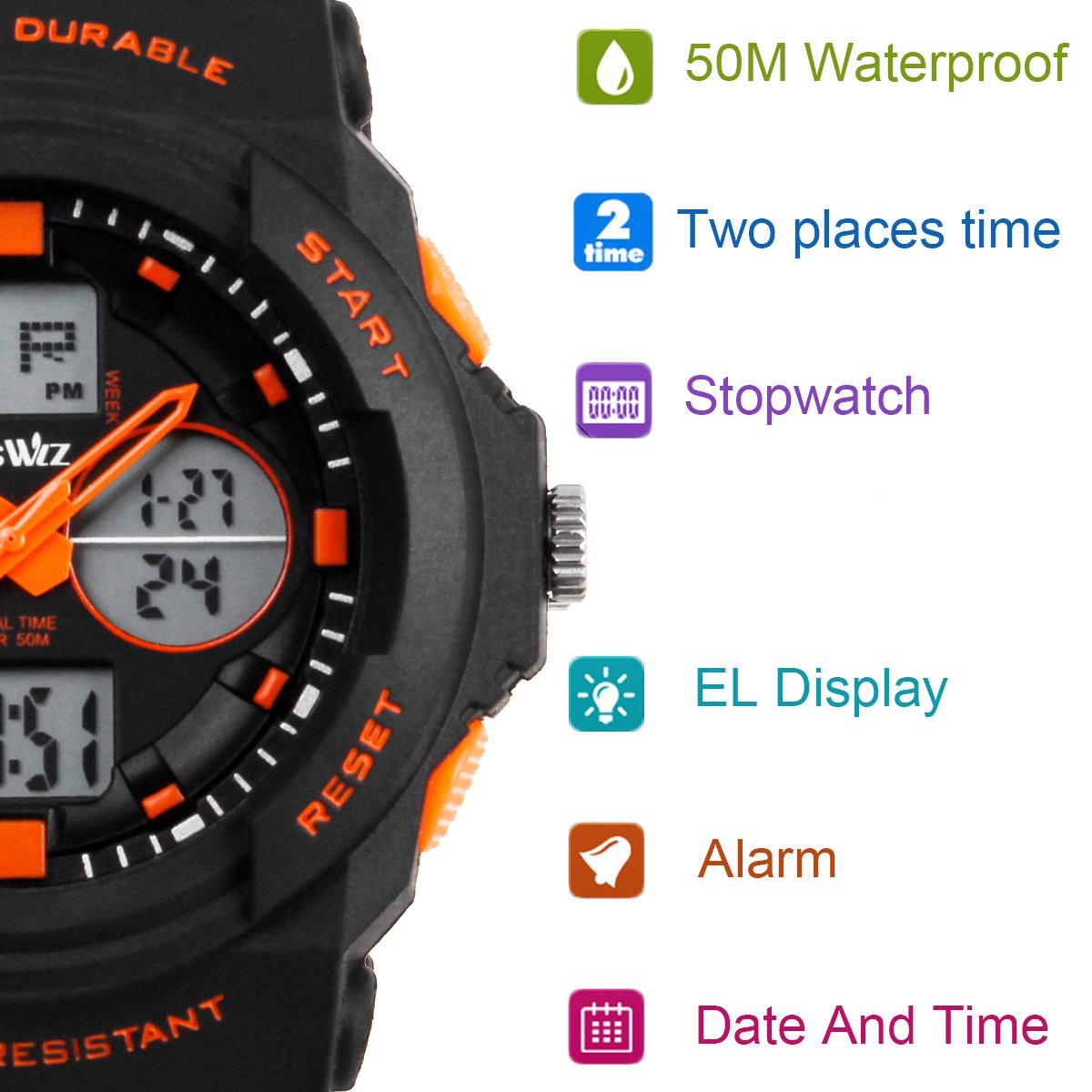 BesWLZ Multi Function Digital LED Quartz Watch Water Resistant Electronic Sport Watches Child Orange by BesWlz (Image #2)