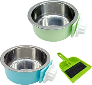 Crate Dog Bowl Removable Stainless Steel Food and Water Feeder Hanging Cage Bowls Coop Cup with Cleaning Set for Puppy Cat Bird Rat Guinea Pig Ferret