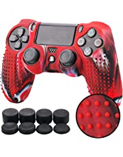 Pandaren STUDDED Silikon Hülle Anti-Rutsch für PS4 controller x 1 (Tarnung rot) + FPS PRO thumb grips aufsätze x 8