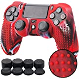 Pandaren STUDDED silicone cover skin anti-slip for PS4/ SLIM/ PRO controller x 1(camouflage red) + FPS PRO thumb grips x 8