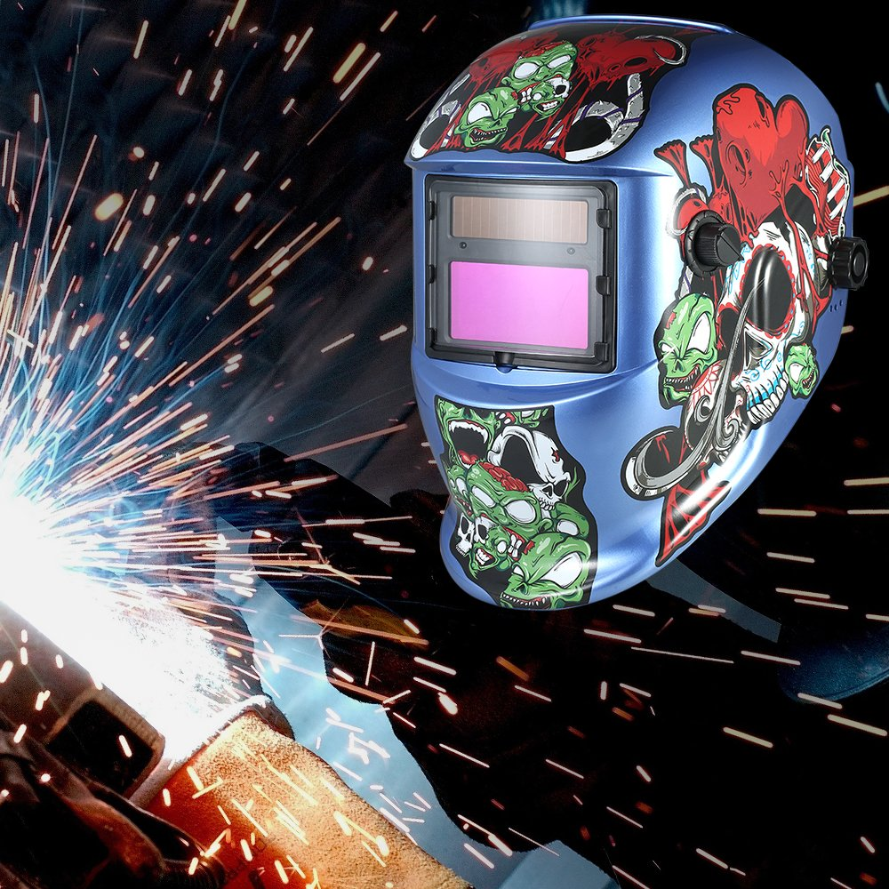 Walmeck Industrial Welding Helmet Solar Power Auto Darkening Welding Helmet TIG MIG Cartoon Zombie Design by Walmeck (Image #9)