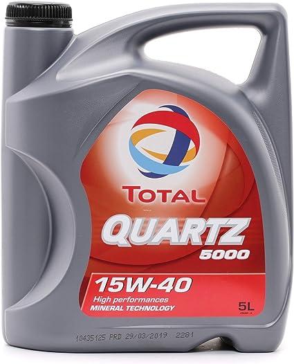 Total Quartz 5000 TOT-148645 15W-40 - Aceite de Motor, 5 litros ...