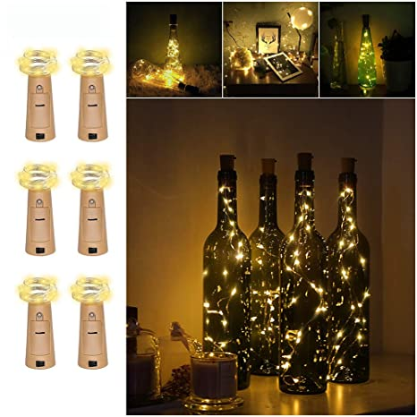 6Pack Luces de Botella, Amteker Luces del Corcho de 1M 20 LED, Botella de