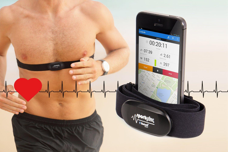 SportPlus Correa de Pecho con Monitor de Frecuencia Card/íaca de 5 KHz Con Bluetooth 4.0 para iOS Android A Partir de 4.3 Lavable y Tel/éfono de Windows