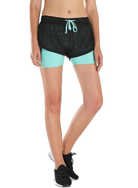 HAINES Pantalón Corto Deporte Mujer Short Running 2 en 1 Pantalones Cortos  para Correr Fitness Yoga  Amazon.es  Ropa y accesorios 87953e89cda35
