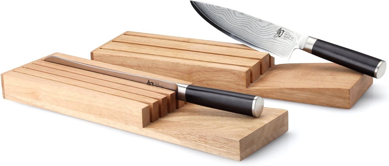 Continenta 30518 Messerblock für Schublade aus Gummibaumholz, Messerhalter, Schubladen Messerblock für 5 Messer