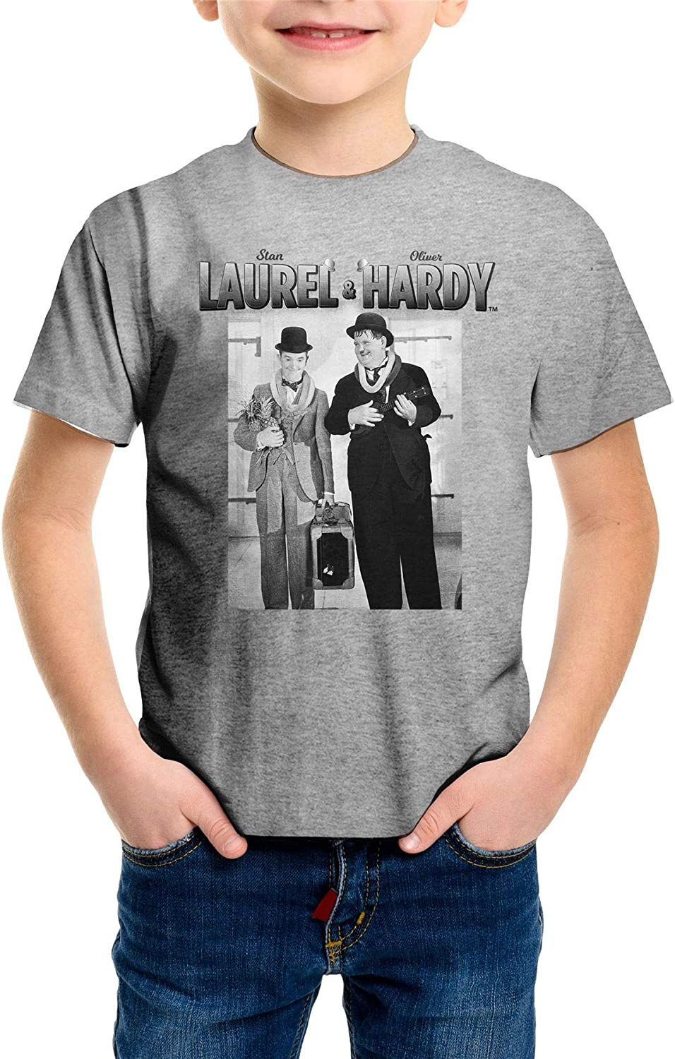 Stan Laurel /& Oliver Hardy Classic Pineapple /& Ukulele Childrens Grey T-Shirt