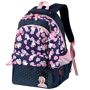 eac48905f9388 Vbiger Schulrucksack Kinder Rucksack Schüler Schultasche für  Mädchen(Dunkelblau)