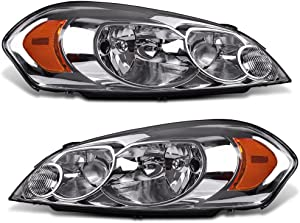 AUTOSAVER88 Headlight Assembly Compatible with 2006-2013 Chevy Impala 06 07 Chevy Monte Carlo Replacement Headlamp Driving Light Chrome Housing Amber Reflector Clear Lens 25958359 25958360