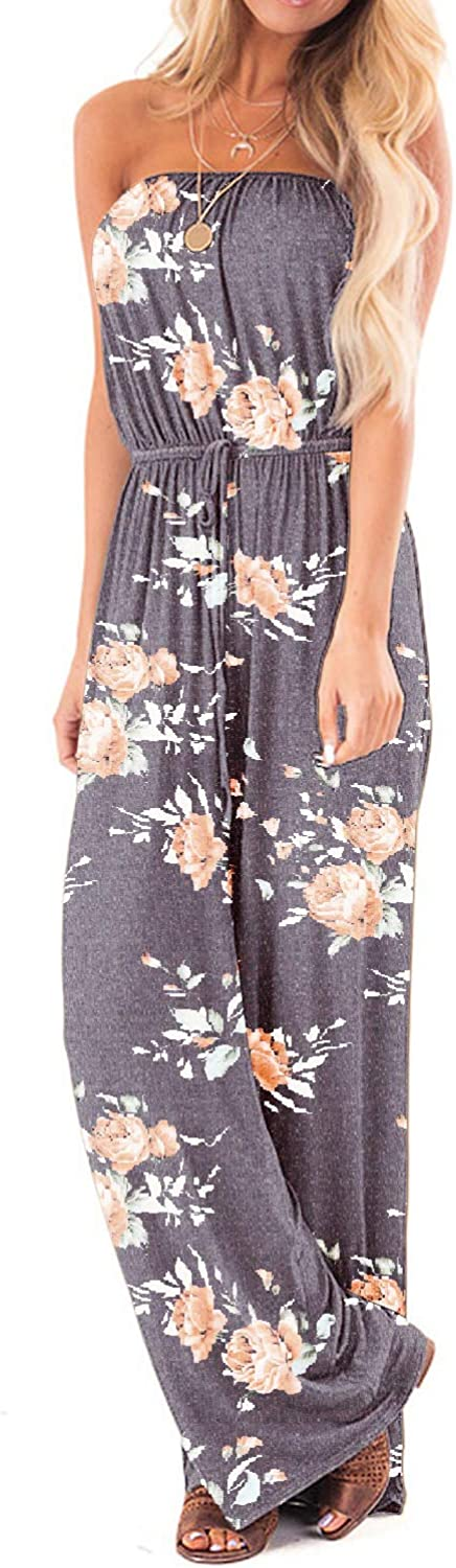 SENFURE Womens Off Shoulder Jumpsuits Summer Strapless Elastic Waist Wide Leg Casual Romper with Two Pockets