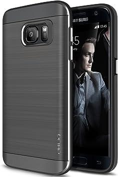 Coque Galaxy S7, OBLIQ [Slim Meta] [Titane Space Grey] Étui de Protection Double Couche Premium Slim Fit avec Finition métallique Brush Finition avec ...